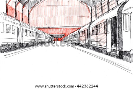 Ink drawing of a big railway station with trains in a European city - stock photo