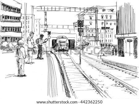 Ink drawing of a European railway station with passengers, waiting train - stock photo