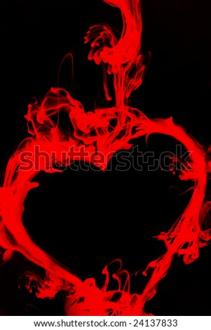 Ink Drop formed as a heart in red