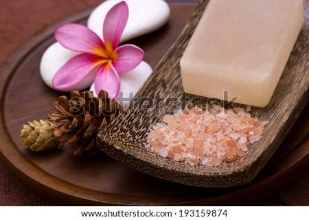ink Frangipani with white/zen stone and salt soap - stock photo