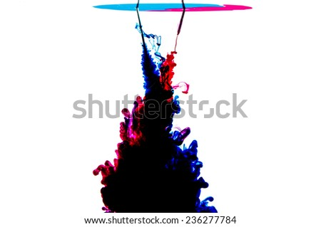 Ink in water forming clouds  - stock photo