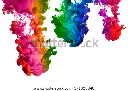 Ink in water isolated on white background. Rainbow of colors isolated on white background - stock photo