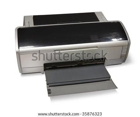 ink-jet printer A3. Isolated on white with clipping path - stock photo