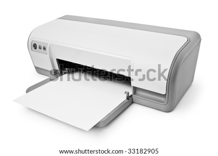 ink-jet printer with paper isolated on white background - stock photo