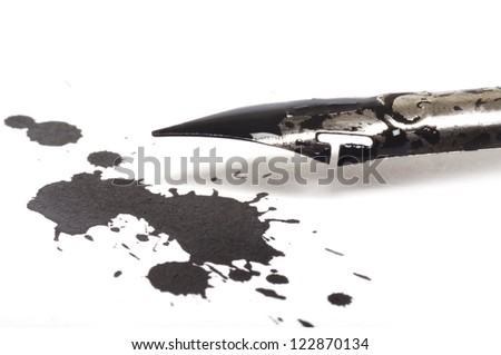 Ink pen and ink blot on the white background - stock photo
