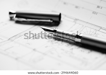 Ink pen with structure project for building a house