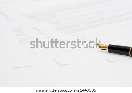 ink pen with three papers - stock photo