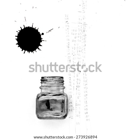 ink pot and feather - stock photo