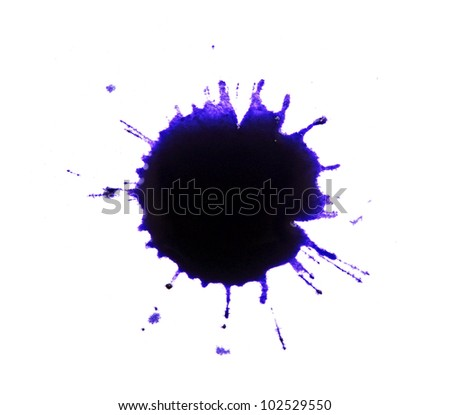 Ink splashes on white paper - stock photo