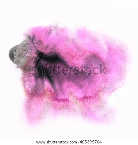 ink splatter watercolour dye liquid black purple watercolor macro spot blotch texture isolated on white background - stock photo