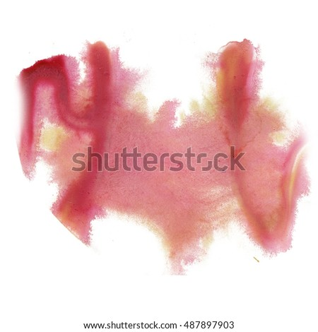ink splatter watercolour dye red yellow liquid watercolor macro spot blotch texture isolated on white