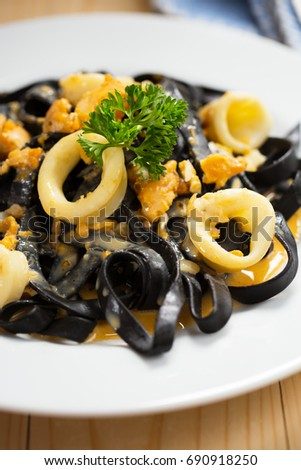 ink squid pasta with cuttlefish