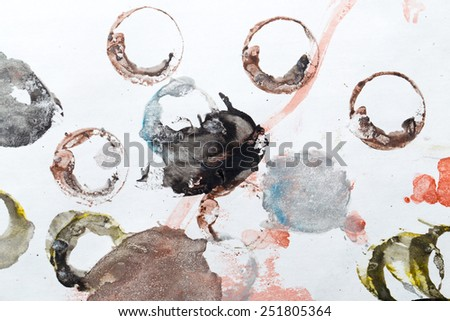 ink stains on white paper circles - stock photo
