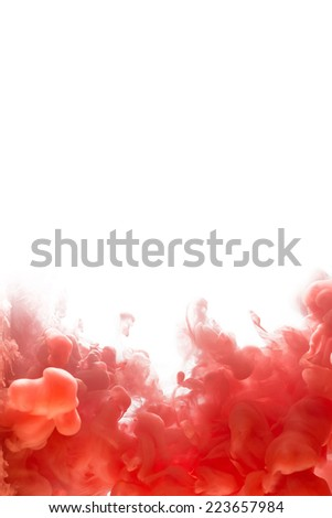 Ink swirling in water, cloud of ink in water isolated on white. Abstract banner paints. - stock photo