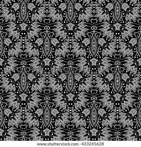 Ink Tribal Pattern. Aztec Seamless Background