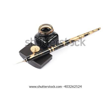 Ink writing tools composition of a blotting paper press, ink bottle and dip tip pen, isolated over the white background - stock photo