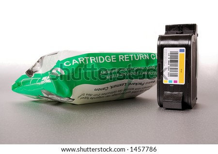 Inkjet cartridge with recycle bag - stock photo