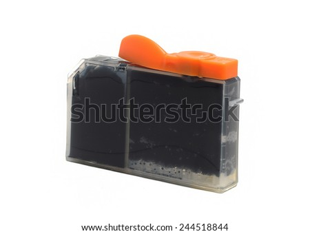 inkjet printer cartridge isolated on a white background - stock photo