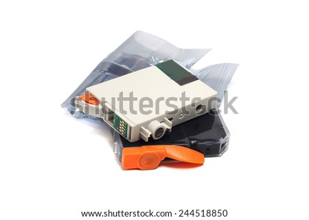 inkjet printer cartridges isolated on a white background - stock photo