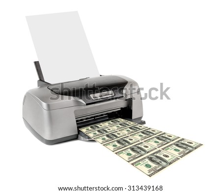 inkjet printer print counterfeit money, on white background; isolated  - stock photo