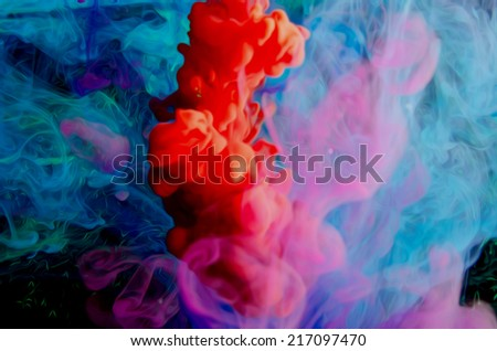 inks in the water - stock photo