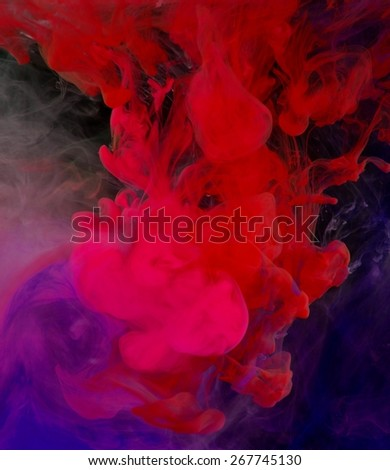 inks in water, color abstraction - stock photo