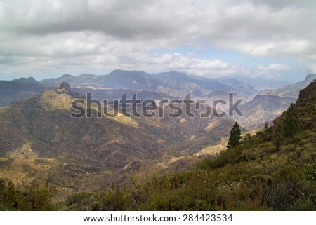 Inland Central Gran Canaria, Caldera de Tejeda, partially overcast day - stock photo