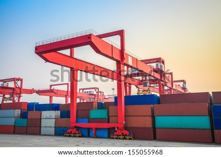inland container terminal at dusk,China - stock photo