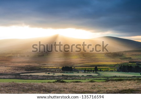 Inland view of the Irish country side seen from the base of Great Sugarloaf mountain - stock photo