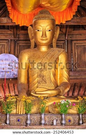 INLE, MYANMAR - DEC 8: Buddha statue at Shwe Yan Pyay Temple on Dec 8, 2014 in Inle.The temple is a fascinating teak wood monastery built in the early 19th Century.