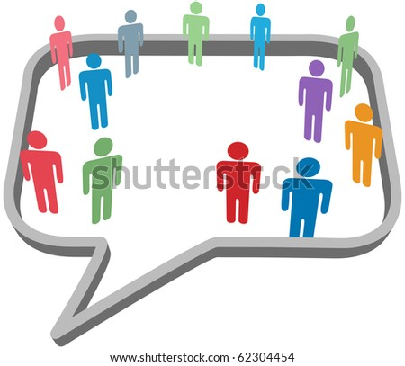 Inner circle business people talk inside a social media network speech bubble - stock photo