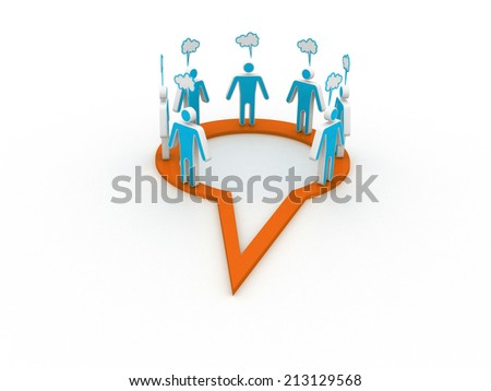 Inner circle business people talk meet in a social media network speech bubble - stock photo
