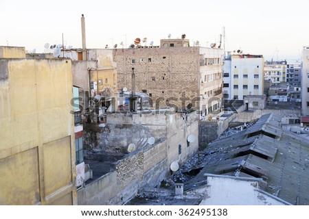 Inner-city slum in Casablanca, Morocco, Africa - stock photo