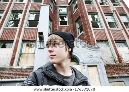 Inner city Teenage boy - stock photo