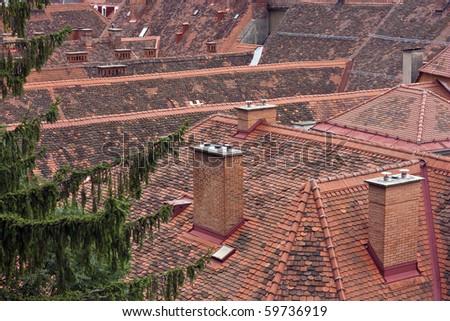 Inner city tiled roofs of Graz, Austria - stock photo