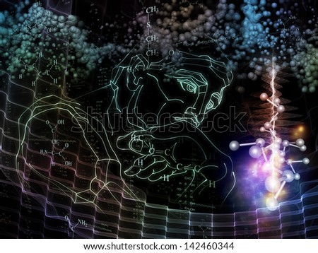 Inner Colors series. Composition of male head and technological elements on the subject of math, logic, science, education and technology - stock photo
