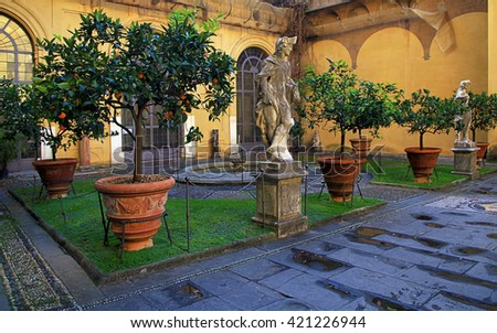 Inner courtyard of Medici Riccardi Palace. Florence, Italy - stock photo