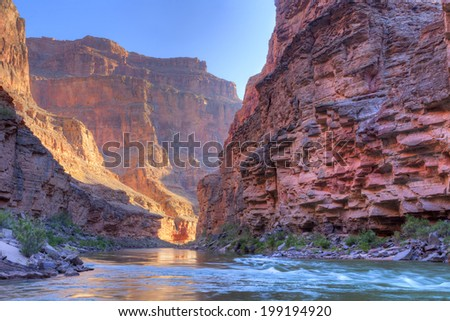 Inner Grand Canyon catching days first rays. - stock photo
