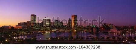 Inner Harbor, Baltimore, Sunset, Maryland - stock photo