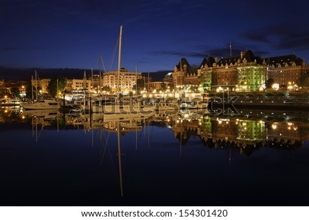 Inner Harbor Twilight, Victoria, British Columbia. The Inner Harbor of Victoria at twilight. Vancouver Island, British Columbia, Canada.  - stock photo
