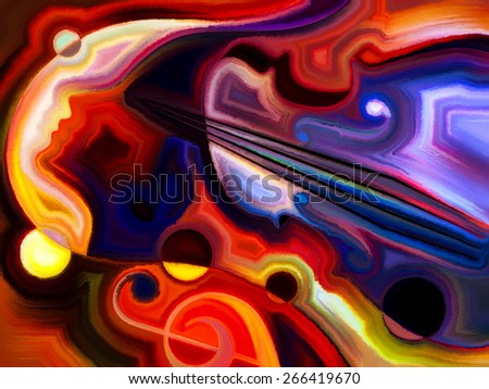 Inner Melody series. Abstract design made of colorful human and musical shapes on the subject of spirituality of music and performing arts - stock photo