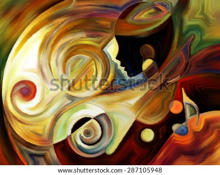 Inner Melody series. Arrangement of colorful human and musical shapes on the subject of spirituality of music and performing arts - stock photo