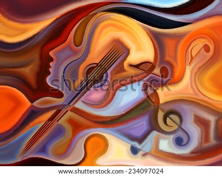 Inner Melody series. Composition of colorful human and musical shapes on the subject of spirituality of music and performing arts - stock photo