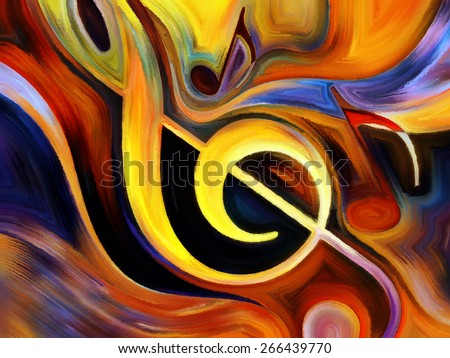 Inner Melody series. Design composed of colorful musical shapes as a metaphor on the subject of spirituality of music and performing arts - stock photo