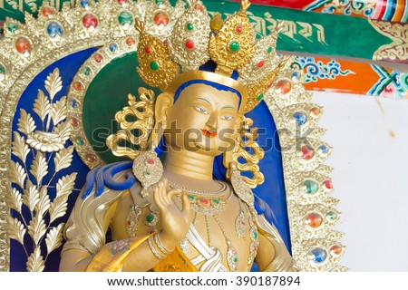 INNER MONGOLIA, CHINA - Aug 13 2015: Budda Statue at Five Pagoda Temple(Wutasi). a famous historic site in Hohhot, Inner Mongolia, China.