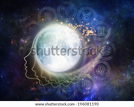 Inner Moon series. Backdrop of moon, human profile and astrological symbols on the subject of spirit world, dreams, imagination, astrology and the mind