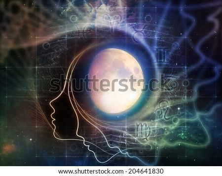Inner Moon series. Background design of moon, human profile and design elements on the subject of spirit world, dreams, imagination, astrology and the mind