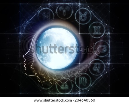 Inner Moon series. Interplay of moon, human profile and design elements on the subject of spirit world, dreams, imagination, astrology and the mind