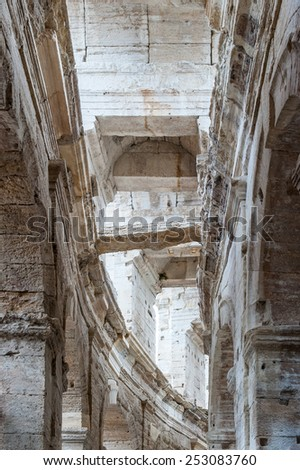 Inner view of Arles Ampitheatre, France - stock photo