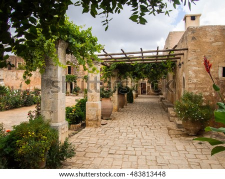 Inner Yard of Arkadi Monastery, Crete, Greece